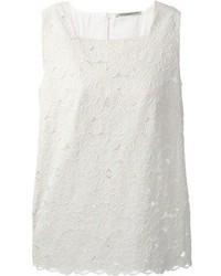 Blusa sin mangas de encaje blanca