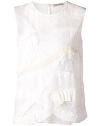 Blusa sin mangas de encaje blanca de Nina Ricci