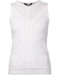 Blusa sin mangas de encaje blanca de Roberto Cavalli