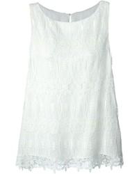 Blusa sin mangas de encaje blanca de Thomas Wylde