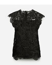 Blusa sin mangas de encaje negra de Christopher Kane