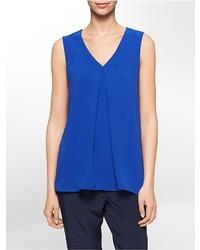 Blusa sin mangas de gasa azul