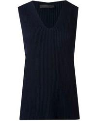 Blusa sin mangas de punto azul marino de The Row