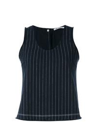 Blusa sin mangas de rayas verticales azul marino de T by Alexander Wang