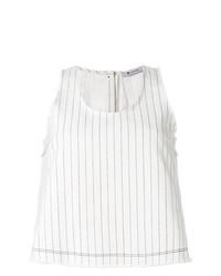 Blusa sin mangas de rayas verticales blanca de T by Alexander Wang