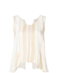 Blusa sin mangas de rayas verticales en beige de Zeus+Dione