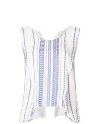 Blusa sin mangas de rayas verticales en blanco y azul de Zeus+Dione