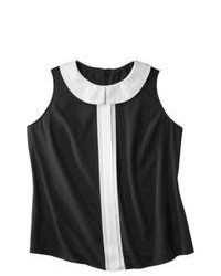 Blusa sin mangas de rayas verticales en negro y blanco
