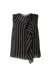 Blusa sin mangas de rayas verticales negra de Lanvin