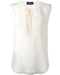Blusa sin mangas de seda blanca de Dsquared2