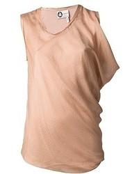 Blusa sin mangas de seda marrón claro de Lanvin