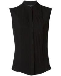 Blusa sin mangas de seda negra de Alexander McQueen