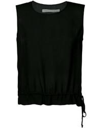 Blusa sin mangas de seda negra de Raquel Allegra