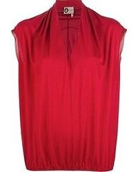 Blusa sin mangas de seda roja de Lanvin
