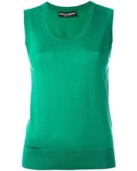 Blusa sin mangas de seda verde