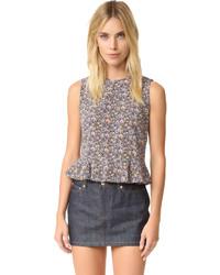 Blusa sin mangas de seda violeta claro