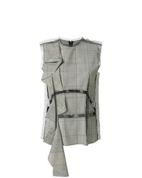 Blusa sin mangas de tartán gris de Maison Margiela