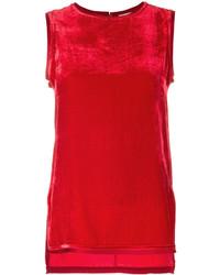 Blusa sin mangas de terciopelo roja de P.A.R.O.S.H.