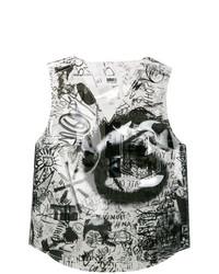 Blusa sin mangas estampada en blanco y negro de MM6 MAISON MARGIELA