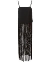 Blusa sin mangas сon flecos negra de DKNY