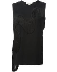 Blusa sin mangas сon flecos negra de Stella McCartney