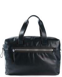Bolsa de viaje de cuero azul marino de Lanvin
