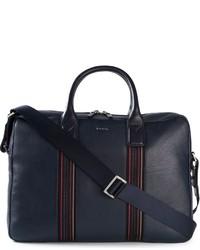 Bolsa de viaje de cuero azul marino de Paul Smith