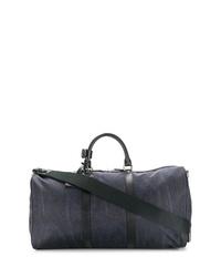 Bolsa de viaje de cuero de paisley azul marino de Etro