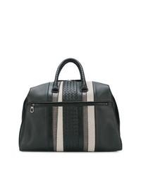 Bolsa de viaje de cuero tejida negra