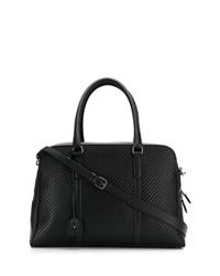 Bolsa de viaje de cuero tejida negra de Ermenegildo Zegna