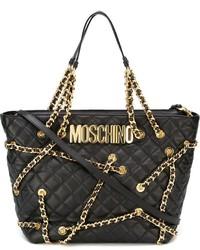 Bolsa tote con adornos negra de Moschino