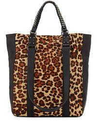 Bolsa tote de ante de leopardo marrón claro