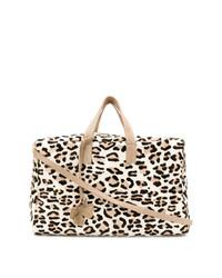 Bolsa tote de ante de leopardo marrón claro de Danielapi