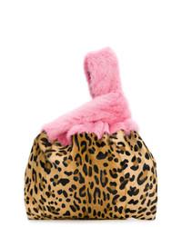 Bolsa tote de ante de leopardo marrón claro de Simonetta Ravizza