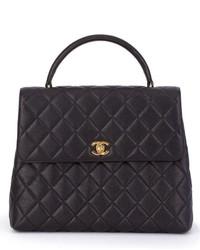 Bolsa Tote de Cuero Acolchada Negra de Chanel