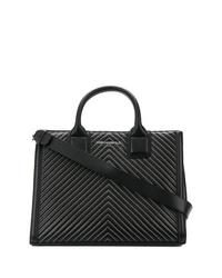 Bolsa tote de cuero acolchada negra de Karl Lagerfeld