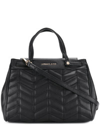 Bolsa Tote de Cuero Acolchada Negra de Versace