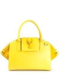 Bolsa tote de cuero amarilla