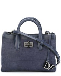 Bolsa tote de cuero azul marino de Diane von Furstenberg