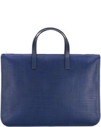 Bolsa tote de cuero azul marino de Loewe
