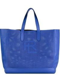 Bolsa tote de cuero azul de Ralph Lauren