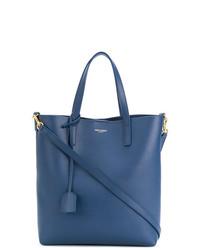 Bolsa Tote de Cuero Azul de Saint Laurent