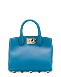 Bolsa tote de cuero azul de Salvatore Ferragamo
