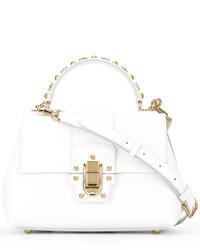 Bolsa tote de cuero blanca de Dolce & Gabbana