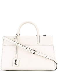 Bolsa Tote de Cuero Blanca de Saint Laurent