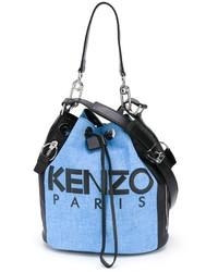 Bolsa tote de cuero celeste de Kenzo