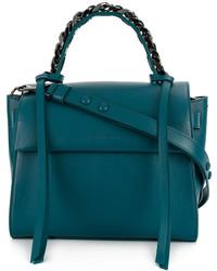 Bolsa tote de cuero con adornos en verde azulado de Elena Ghisellini