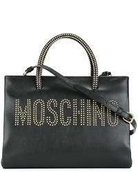 Bolsa tote de cuero con adornos negra de Moschino