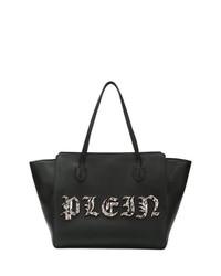 Bolsa tote de cuero con adornos negra de Philipp Plein