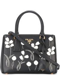 Bolsa Tote de Cuero con print de flores Negra de Prada